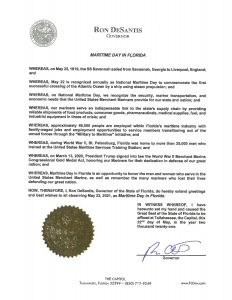 Proclamation by Gov. Ron DeSantis on Maritime Day in Florida, 2021